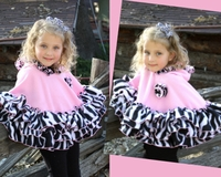 Faith Baby Pink and Zebra Ruffled Fleece Hooded Poncho