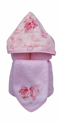 French Rose Hooded Towel on Pink