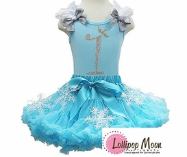 Frozen Glitter Birthday Pettiskirt Set  Ages1- 7 Years