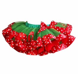 Girls Christmas Green Red Polka Dots Satin Trimmed Tutu - Holiday Girl Tutu's