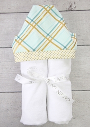 GOLD PLAID HOODED TOWEL