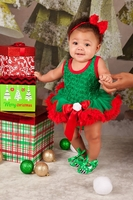 Green Red Rosettes Bodysuit Pettidress and Headband with Shoes