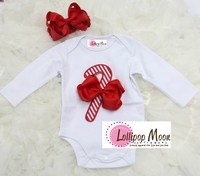 Holiday Candy Cane Baby Romper and Bow Set - Unique Baby Gifts