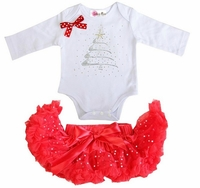 Holiday Red Glitter Pettiskirt with Rhinestone Christmas Tree White Long Sleeves Bodysuit