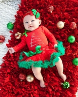Holiday  Red Green Pettiskirt with Rhinestone Christmas Tree Red Long Sleeves Bodysuit and Headband