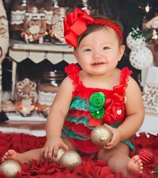 Holiday Satin Rosettes Red Green Lace Petti Rompers with Bow Headband