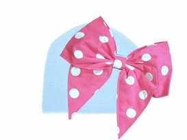 Jamie Rae Baby Blue Cotton Hat with Pink White Bow-Rae-Mi