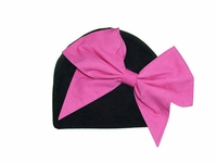 Jamie Rae Black Cotton Hat with Candy Pink Bow-Rae-Mi