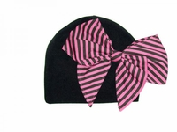 Jamie Rae Black Cotton Hat with Candy Pink Stripe Bow-Rae-Mi
