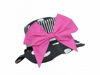 Jamie Rae Black White Dot Sun Hat with Candy Pink Bow-Rae-Mi