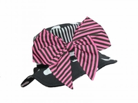 Jamie Rae Black White Dot Sun Hat with Pink Black Bow-Rae-Mi