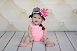 Jamie Rae Black White Dot Sun Hat with Pink Raspberry Large Peony