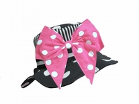 Jamie Rae Black White Dot Sun Hat with Pink White Bow-Rae-Mi