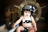 Jamie Rae Black White Dot Sun Hats with Black White Large Peony