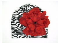 Jamie Rae Black White Zebra Print Hat Red Peony