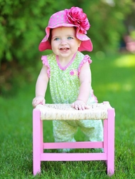 Jamie Rae Candy Pink Aloe Dot Sun Hat with Raspberry Large Rose- Newborn-Toddler Sun Hats