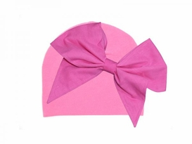 Jamie Rae Candy Pink Cotton Hatwith Candy Pink Bow-Rae-Mi