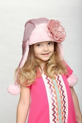 Jamie Rae Candy Pink Couture Winter Wimple with Sequins Pale Pink Rose
