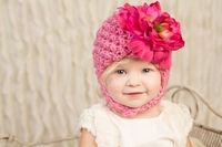 Jamie Rae Candy Pink Pretty Pixie Hats with Raspberry Large Peony