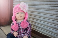 Jamie Rae Candy Pink Winter Wimple Hat with Pale Pink Lace Rose
