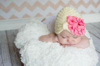 Jamie Rae Cream Tiny Turbans with Candy Pink Small Geraniums