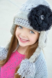 Jamie Rae Gray Winter Wimple Hat with Black Lace Rose