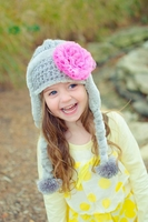 Jamie Rae Gray Winter Wimple Hat with Candy Pink Lace Rose