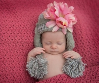 Jamie  Rae Gray Winter Wimple Hat with Candy Pink Small Peony