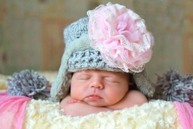 Jamie Rae Gray Winter Wimple Hat with Pale Pink Lace Rose
