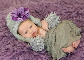 Jamie Rae Gray Winter Wimple Hat with Purple Small Rose