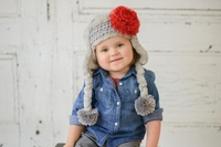 Jamie  Rae Gray Winter Wimple Hat with Red Lace Rose