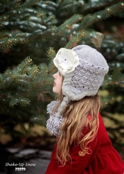 Jamie Rae Gray Winter Wimple Hat with Sequins Cream Rose