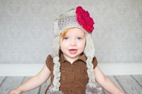 Jamie Rae Gray Winter Wimple Hat with Sequins Raspberry Rose