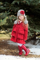 Jamie Rae Gray Winter Wimple Hat with Small Red Rose