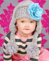 Jamie Rae Gray Winter Wimple Hat with Teal Small Rose