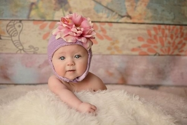 Jamie Rae Lavender Blossom Bonnet with Pale Pink Small Peony