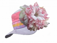 Jamie Rae Lavender Gingham Sun Hats with Pink White Large Peony