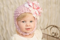 Jamie Rae Pale Pink Pretty Pixie Hats with Pink White Large Peony