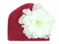 Jamie Rae Raspberry Velvet Hat with White Large Peony