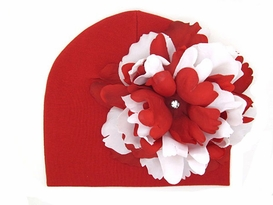 Jamie Rae Red Cotton Hats with Red White Large Peony