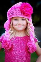 Jamie Rae Winter Wimple Hat With Hot Pink Lace Rose