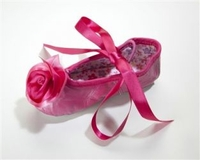 Kamara Designs Satin Rose Ballet Slippers in Hot Pink