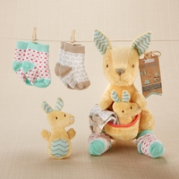 """Kangarooties"" Plush Plus Rattle & Socks for Baby"