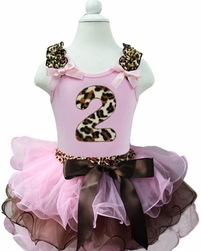 Lollipop Moon Leopard Light Pink Brown Petal Pettiskirt with Leopard Number  Ages 1-6 Years