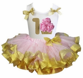 Lollipop Moon Light Pink Gold Satin Trimmed Tutu Pink 1st Rosettes Gold Cupcake White Tank Top