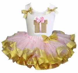 Lollipop Moon Light Pink Gold Satin Trimmed Tutu with Gift Box White Tank Top