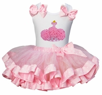 Lollipop Moon Light Pink Polka Dots Satin Trimmed Tutu with Cupcake White Tank Top
