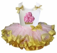 Lollipop Moon Pink Gold Satin Trimmed Tutu Pink Rosettes Gold Cupcake White Tank Top