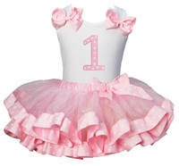 Lollipop Moon Pink Polka Dot Satin Trimmed Tutu & Number 1 White Tank Top