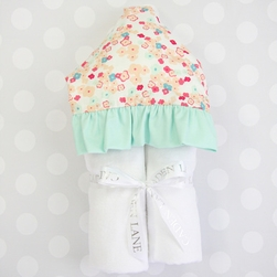 MINT & MINI FLORAL HOODED TOWEL